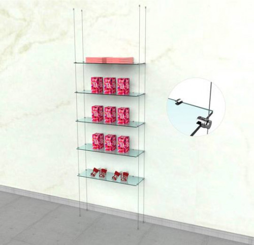 Suspended Shelving Unit for Five Glass Shelves with Wall Mounting Support  - Cable