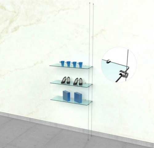 Suspended Shelving Unit for Three Glass Shelves with Wall Mounting Support - Cable Extension