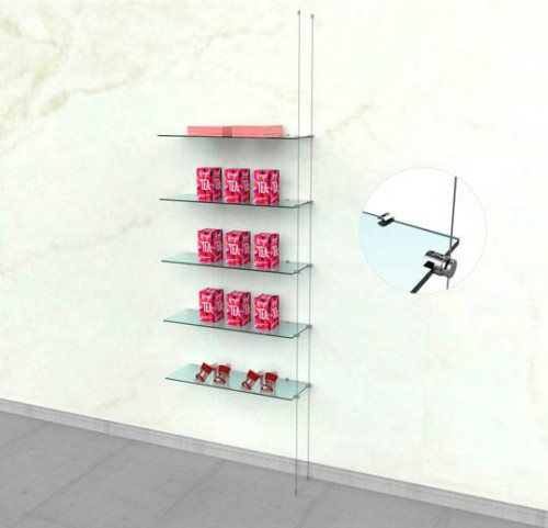 Suspended Shelving Unit for Five Glass Shelves with Wall Mounting Support - Cable Extension