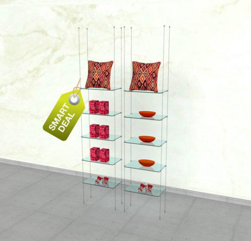 Two Suspended Shelving Unit for Ten Glass Shelves - Cable
