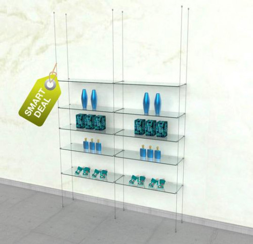 Suspended Shelving Unit for Ten Glass Shelves - Cable Two Sections