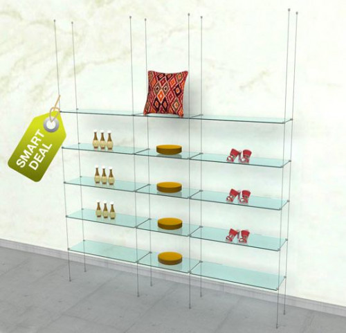 Suspended Shelving Unit for Fifteen Glass Shelves - Cable Three Sections