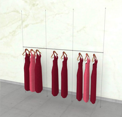 "Suspended Clothing Display Unit with Three 36"" Hanging Rail - Cable"
