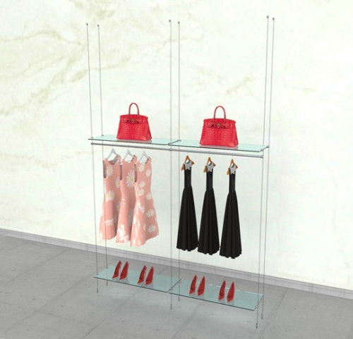 "Suspended Clothing Display Unit for Four Shelves and Two 36"" Hanging Rail - Cable"
