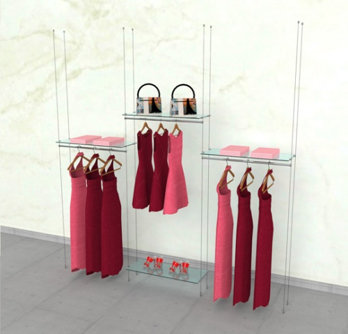 "Suspended Clothing Display Unit for Four Shelves and Three 36"" Hanging Rail - Cable"