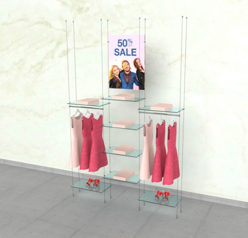 "Suspended Clothing Display Unit for 8 Shelves and Two 24"" Hanging Rail - Cable"