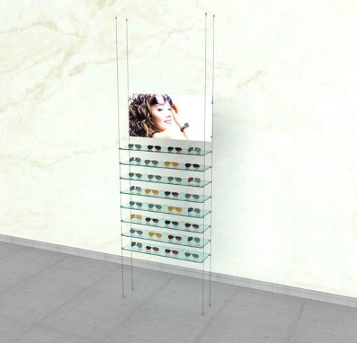 Suspended Shelving Unit for Eight Glass Shelves with Four Signage Clamp- Cable