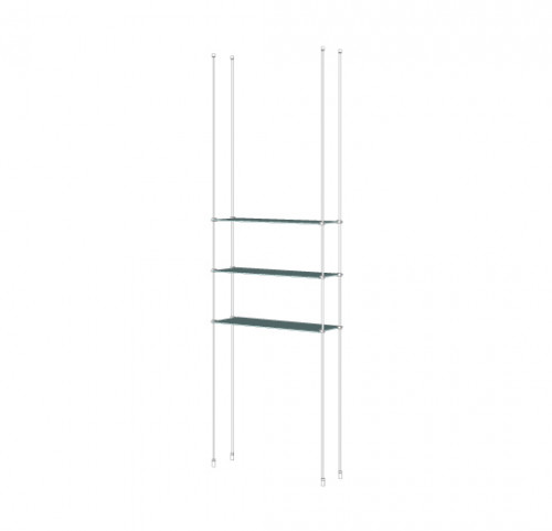 Tube Shelving Unit for Three Glass Shelves, Suspended