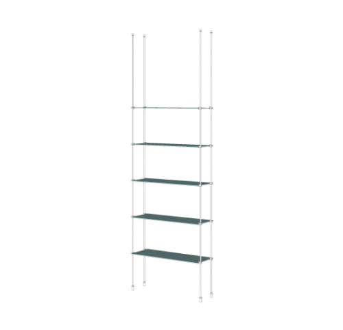 Tube Shelving Unit for Five Glass Shelves, Suspended