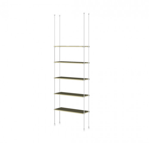 Tube Shelving Unit for Five Wood Shelves, Suspended