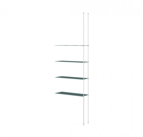 Tube Shelving Unit for Four Glass Shelves, Suspended - Extension