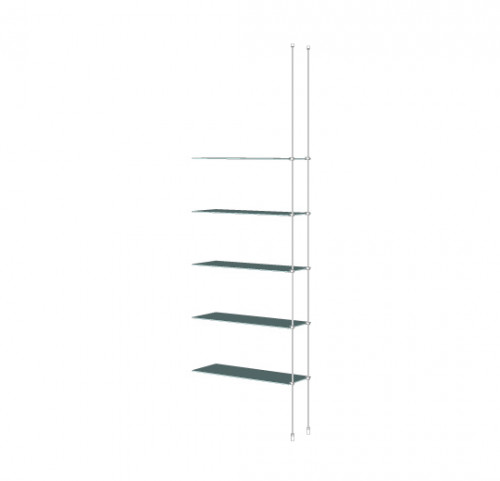 Tube Shelving Unit for Five Glass Shelves, Suspended - Extension