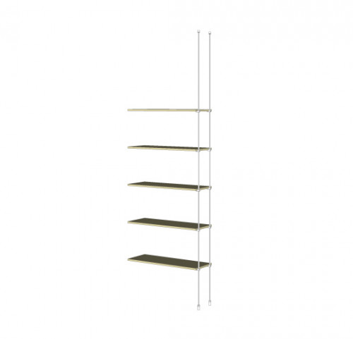 Tube Shelving Unit for Five Wood Shelves, Suspended - Extension