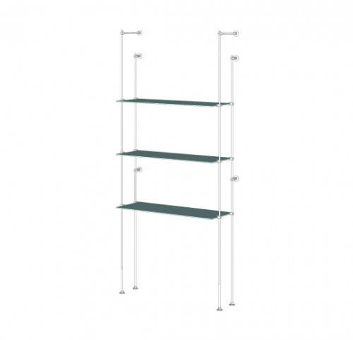 Tube Shelving Unit for Three Glass Shelves, Wall Mounted