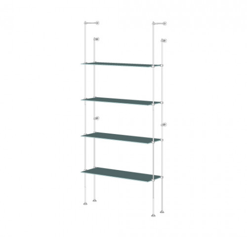Tube Shelving Unit for Four Glass Shelves, Wall Mounted