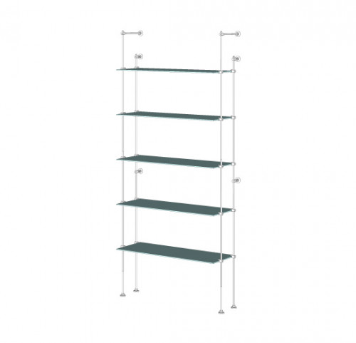 Tube Shelving Unit for Five Glass Shelves, Wall Mounted