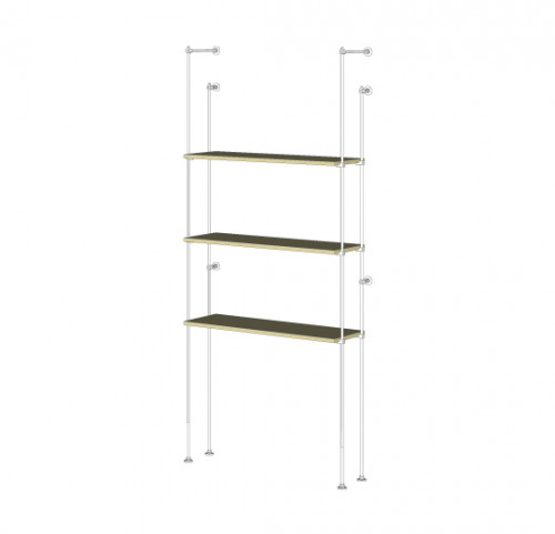 Tube Shelving Unit for Three Wood Shelves, Wall Mounted