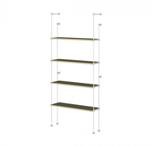 Tube Shelving Unit for Four Wood Shelves, Wall Mounted