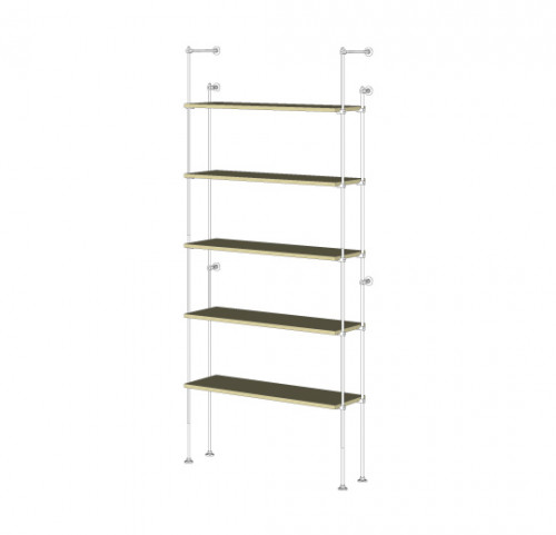 Tube Shelving Unit for Five Wood Shelves, Wall Mounted