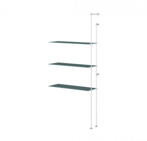 Tube Shelving Unit for Three Glass Shelves, Wall Mounted - Extension