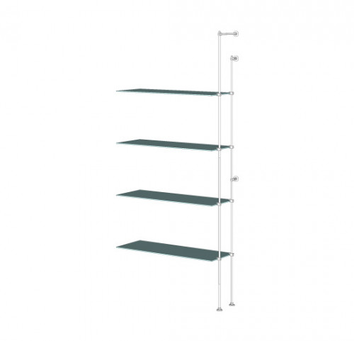 Tube Shelving Unit for Four Glass Shelves, Wall Mounted - Extension
