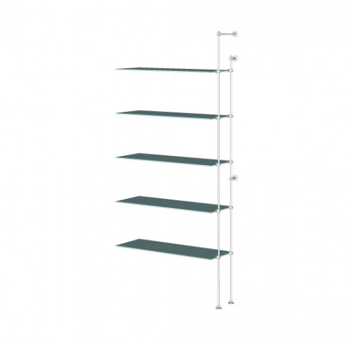 Tube Shelving Unit for Five Glass Shelves, Wall Mounted - Extension