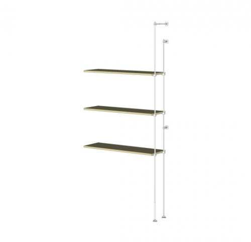 Tube Shelving Unit for Three Wood Shelves, Wall Mounted - Extension