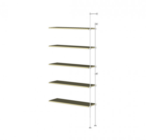 Tube Shelving Unit for Five Wood Shelves, Wall Mounted - Extension