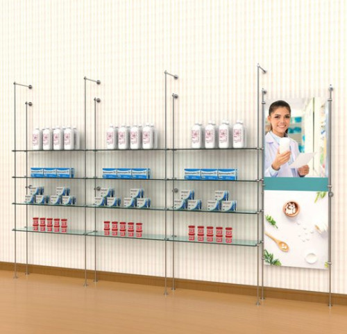Tube Shelving Kit for 12 Glass Shelves with Signage, Wall Mounted