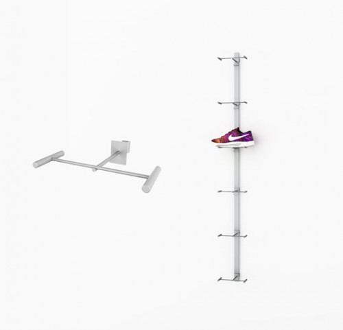 Metal Strip Displayer for Six Shoes, Wall Mounted - Blade