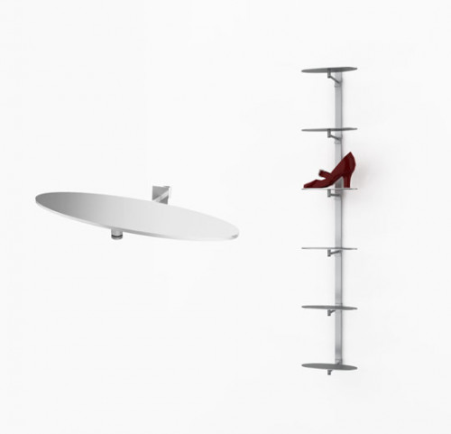 Metal Strip Displayer Plate for Six Shoes, Wall Mounted - Blade