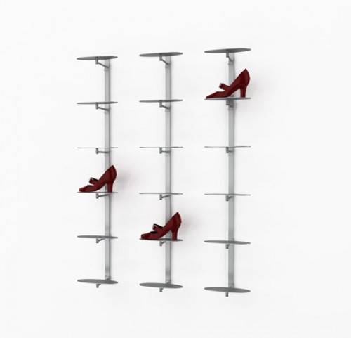 Metal Strip Displayer Plate for Eighteen Shoes, Wall Mounted - Blade