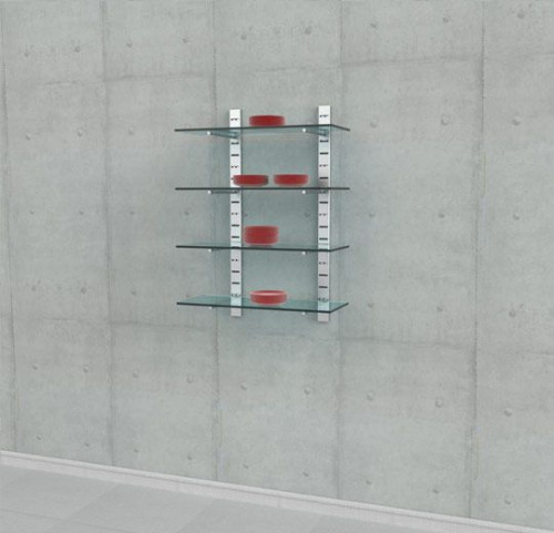 "Shelving Unit 46"" High for Four Glass Shelves with 14"" Brackets, Wall Mounted - SlatStrip"