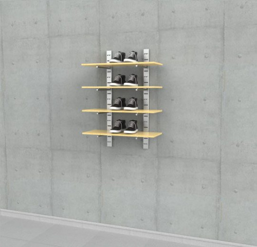 """Shelving Unit 46"""" High for Four Wood  Shelves with 14"""" Brackets, Wall Mounted - SlatStrip"""