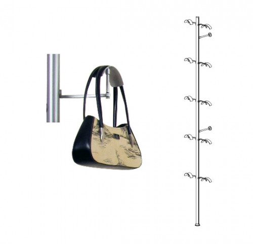Aluminum Pole Displayer for Ten Bags and Headphones, Wall Mounted - Palo