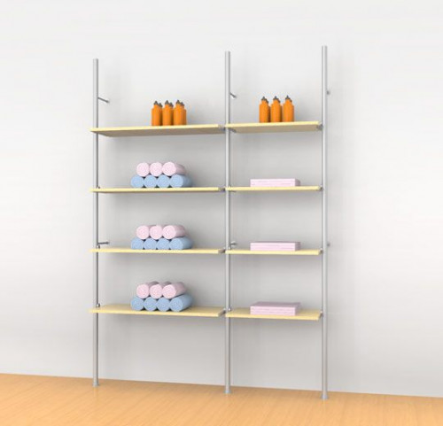 Aluminum Poles Shelving Unit for Eight Wood or Glass Shelves Wall Mounted  - Palo 2 Sections