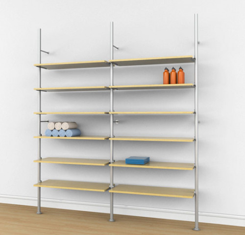 Aluminum Poles Shelving Unit for Twelve Wood or Glass Shelves Wall Mounted  - Palo 2 Sections