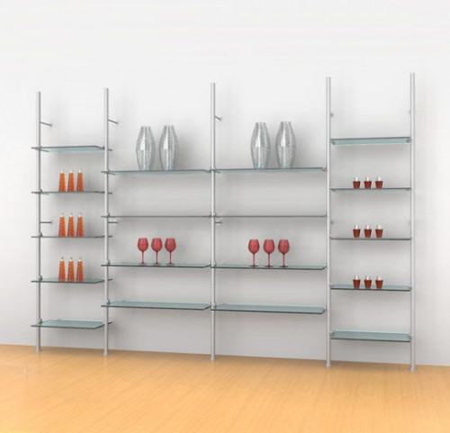 Aluminum Poles Shelving Unit for Eighteen  Wood or Glass Shelves Wall Mounted  - Palo 4 Sections