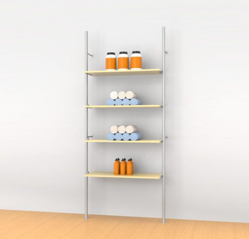 Aluminum Poles Shelving Unit for Four Wood or Glass Shelves Wall Mounted - Palo