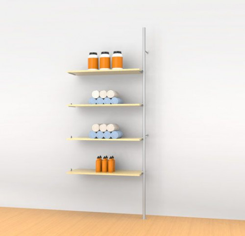 Aluminum Poles Shelving Unit for Four Wood or Glass Shelves, Wall Mounted - Palo Extension