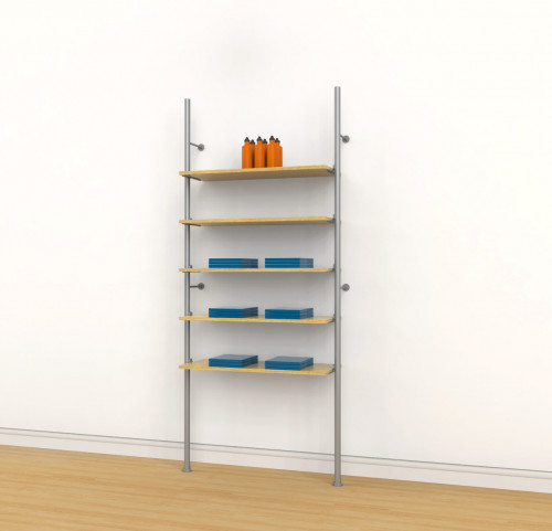 Aluminum Poles Shelving Unit for Five Wood or Glass Shelves, Wall Mounted - Palo