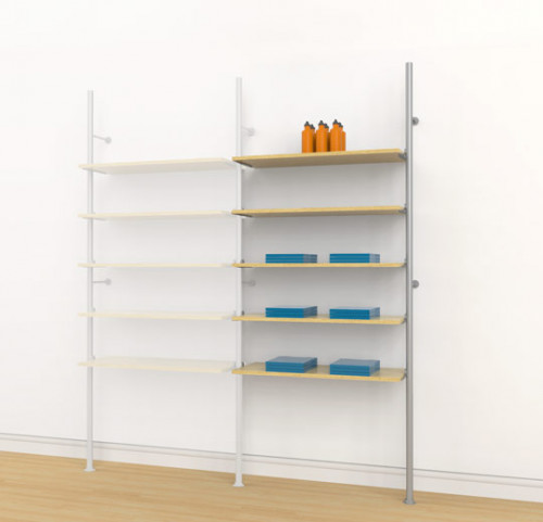 Aluminum Poles Shelving Unit for Five Wood or Glass Shelves, Wall Mounted - Palo Extension