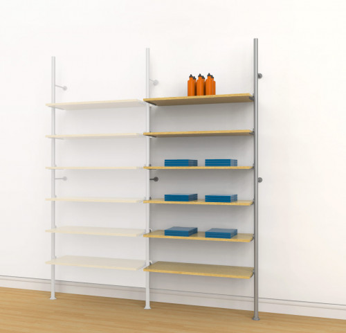 Aluminum Poles Shelving Unit for Six Wood or Glass Shelves, Wall Mounted - Palo Extension