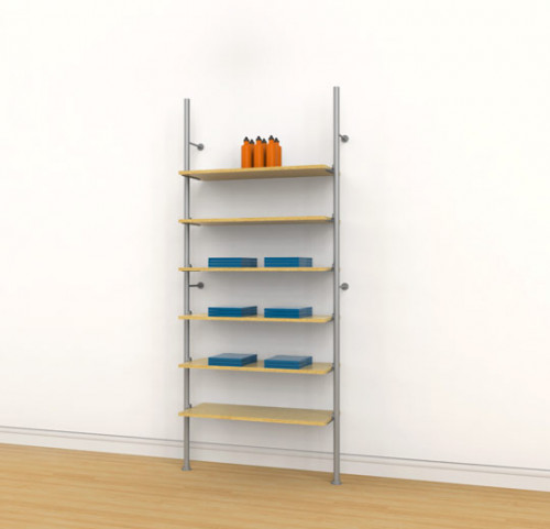 Aluminum Poles Shelving Unit for Six Wood or Glass Shelves Wall Mounted - Palo