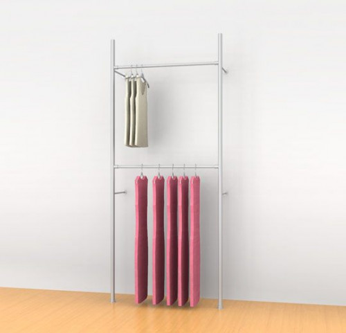 "Aluminum Poles Clothing Display with Two 36"" Hanging Rail, Wall Mounted - Palo"