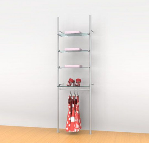 "Aluminum Poles Shelving Unit for Four Shelves with 24"" Clothing Hanging Rail, Wall Mounted - Palo"