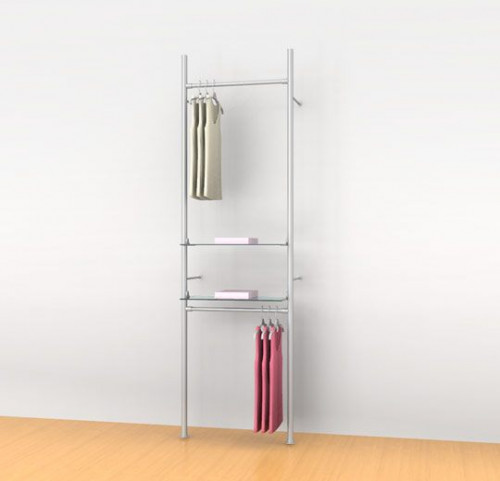 "Aluminum Poles Shelving Unit with Two Round 24""  Hanging Rails and Two Shelve Brackets, Wall Mounted - Palo"
