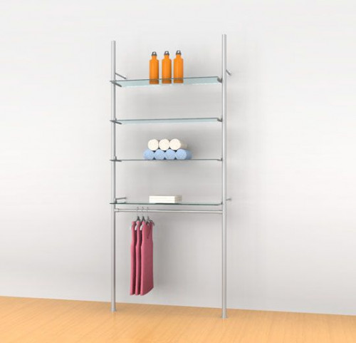 "Aluminum Poles for Four Shelves with 36"" Clothing Hanging Rail, Wall Mounted - Palo"