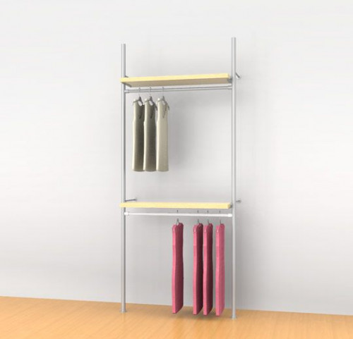 "Aluminum Poles Shelving Unit with Two 36"" Hanging Rails and Two Shelve Brackets, Wall Mounted - Palo"