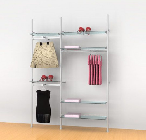 "Aluminum Poles Shelving Unit with Three Hanging Rails and Two Faceouts, Wall Mounted, Two Sections 24"", 36"" - Palo"